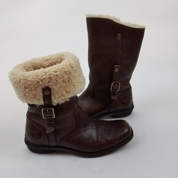 b05dcb80732 UGG Bellvue brown boots leather shearling 5745